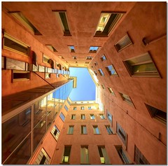 The external lift (Nespyxel) Tags: windows sky vortex rome roma buildings reflections lift pov elevator perspective deep vertigo courtyard lookingup pointofview cielo 8mm riflessi ascensore palazzi cortile prospettiva finestre geometrie geometries noseup profondita nespyxel stefanoscarselli saariysqualitypictures