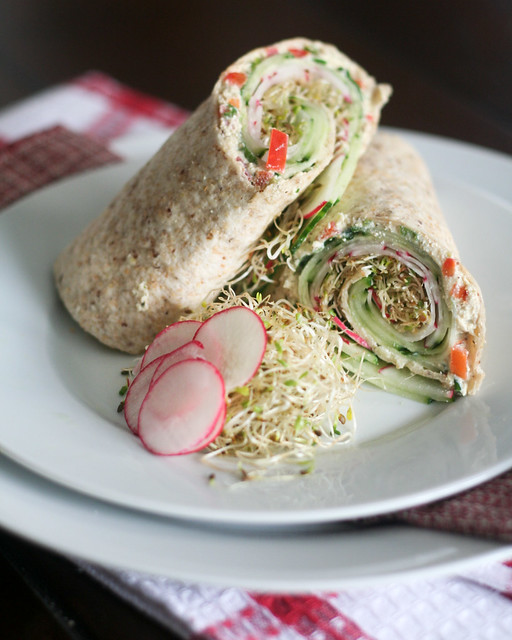 Cucumber and Radish Wrap with Tofu Spread • The Healthy Foodie