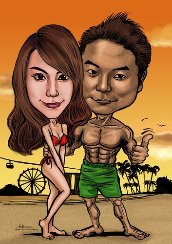 romantic couple caricatures at Siloso Beach