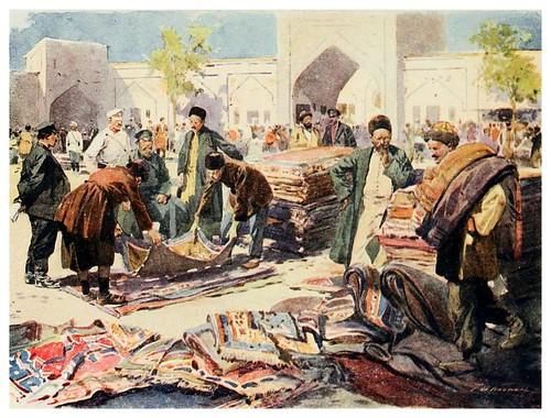 023-Una feria de alfombras en Astrakhan- Provincial Russia-1913- F. de Haenen