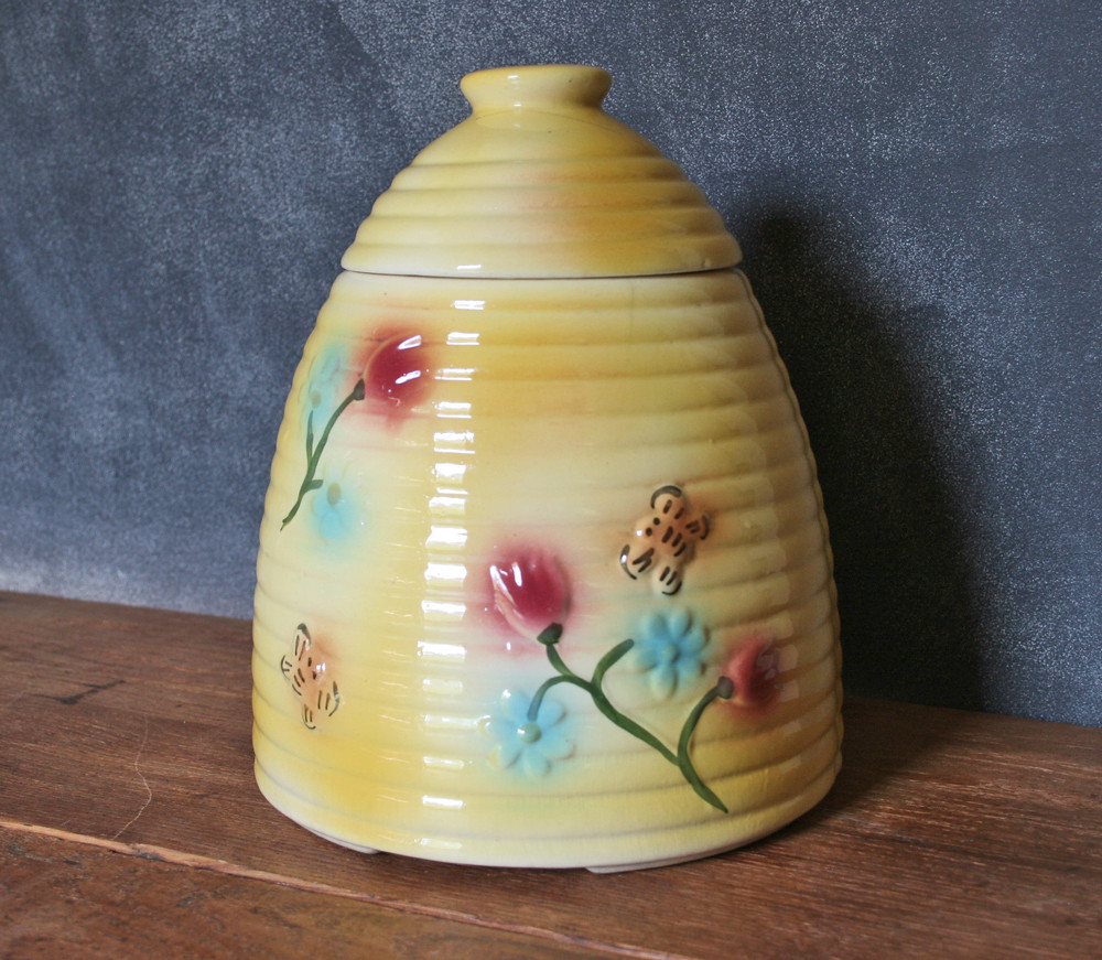 Antique Yellow Beehive Cookie Jar with Bees and Flowers