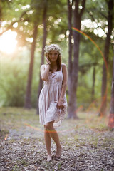 A Softer Fairytale. (The Vision Beautiful) Tags: pink flowers sunset girl beautiful forest woods pretty dress gorgeous crown ashleycooper