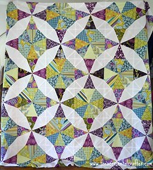 Kaleidosope-Quilt-Nearly-finished (TheAccidentalCrafter) Tags: blue green purple farmersmarket amybutler anthology michaelmiller quiltalong sandihenderson pattyyoung paulaprass artgalleryfabrics kaleidoscopequilt patbravo dontcallmebetsy