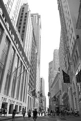 Wall Streen Canyon (Studio 934) Tags: street new city travel summer urban bw white black june wall photography downtown manhattan district financial 2011