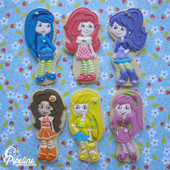 Strawberry Shortcake & Friends (pipeline confections) Tags: girls strawberryshortcake sugarcookies orangeblossom lemonmeringue partyfavors royalicing plumpudding bluberrymuffin raspberrytorte