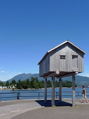 Light Shed (Ruth and Dave) Tags: sculpture house art vancouver shed pedestrian publicart coalharbour lightshed seawal