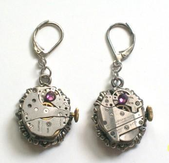 Steampunk Earrings - Vintage Watch Movements with Swarovski Amethyst Crystal & Vintage Watch Faces - Victorian Steam Punk