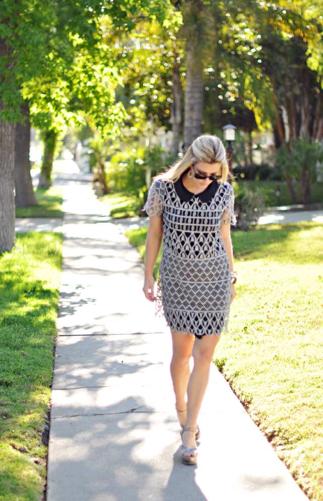 trees+sidewalk+walking+lace dress +crochet dress+platform wedges