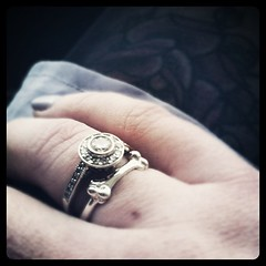 Wearing my @meadowlarknz bone ring from @onceit stacked with my deco diamonds