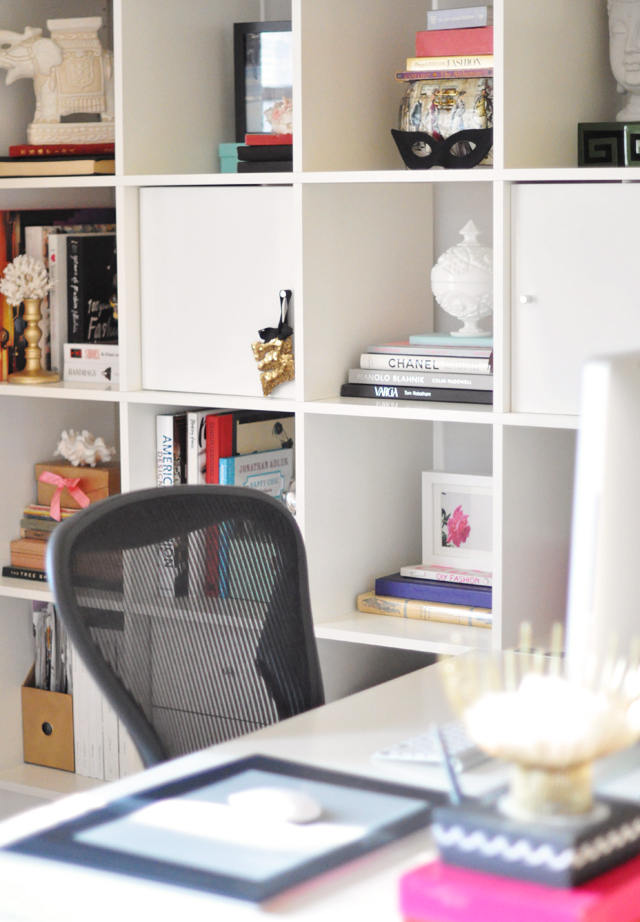 home office desk with ikea shelves