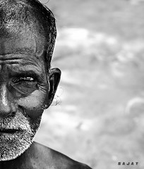 Old men's eyes are strongest of things,  It takes a long way off (Sajay Sankaran) Tags: old portrait people bw white man black nikon age chennai sajay sajays d5100 marakaanam