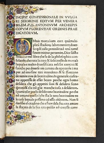 Historiated gilt initial in Antoninus Florentinus: Confessionale: Omnis mortalium cura [Italian]