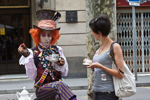 Drinking with Mad Hatter on Las Ramblas Barcelona