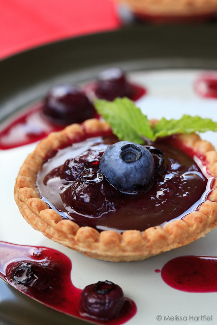 Chocolate Mint Tarts with Blueberry Sauce