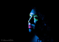 Self portrait #1 (can i SHOOT you?) Tags: blue light portrait selfportrait black extreme makeup boa blacklight florescent 2011 sigma2470mm canon50d