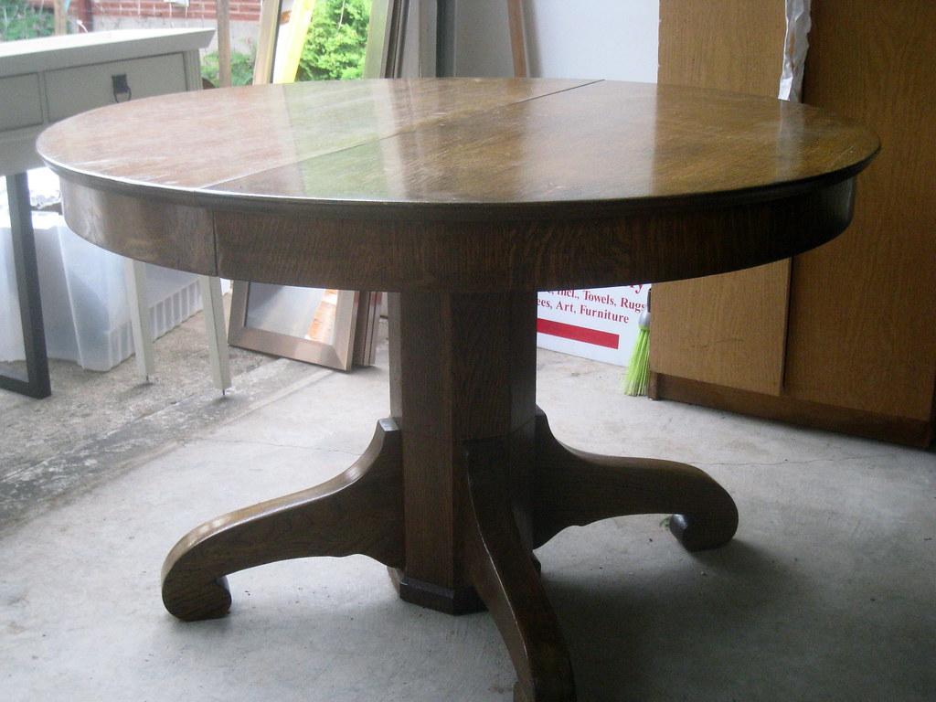 Round Pedestal Oak Kitchen Table  In High