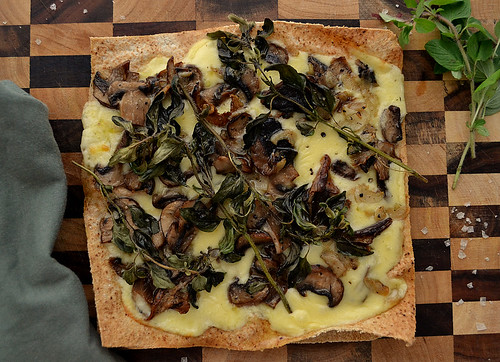 Pizza With Mushrooms, Mozzarella and Garlic