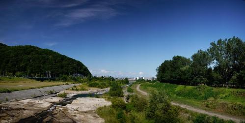 Looking towards Sapporo City over the Toyohira River, Hokkaido, Japan