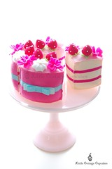 Anyone for a slice? (Little Cottage Cupcakes) Tags: pink flower cake toy strawberry cream felt cuttingcake felttoy littlecottagecupcakes