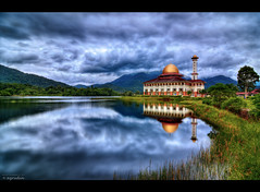 DQ (HDR) (azrudin) Tags: blue cloud lake nature water architecture sunrise landscape nikon cityscape tokina1224 mosque dri hdr masjid tonemapped kualakububaru d7000 darulquran hdcpl azrudin