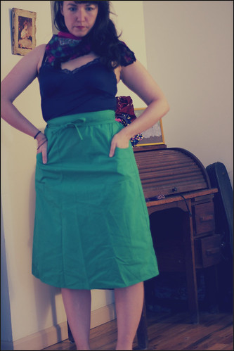 green wraparound skirt