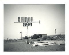 Metro Gas (ThePetor) Tags: white black film sign polaroid fuji nevada plastic 101 automatic instant vignetting fp battlemountain 100b