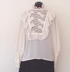 Victorian Inspired White Crepe de Chine & Lace Embroidered Ruffled Blouse Full Length Front (mondas66) Tags: ruffles lace victorian ascot blouse poet romantic elegant ornate lacy dainty prim frilly elegance jabot ruffle demure blouses frills frill ruffled flouncy flounce lacework frilled flounces frilling frillings crepedechine befrilled