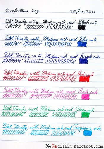 Pilot Varsity 7 color samples