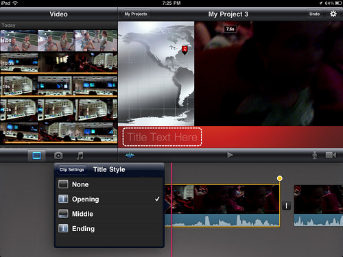 8 (iMovie for iPad) - Choose the desired clip title slide
