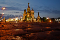 Moscow Low (Street Level) Explored (Geraint Rowland Photography) Tags: night lights cloudy pavement moscow kremlin streetlevel lowpointofview redsquarerussia