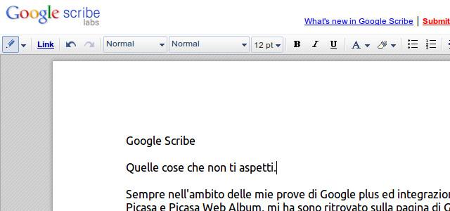 Figura 1 - Google Scribe: aspetto dell'area di editing e barra degli strumenti.
