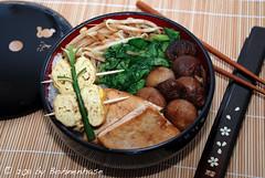 Bento #2: Rice with tofu, mushrooms, bok choy, sprouts & Tamagoyaki
