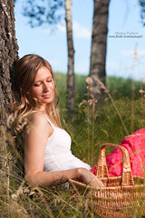 Woman with basket (alexey05) Tags: summer woman nature field vertical forest relax outdoors happy holding day sitting basket sunny blond enjoy birch curiosity caucasian gather herbalist berrypicker mushroomer