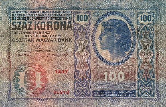 100 Kronen Rakúsko-Uhorsko 1913, I. vydanie Pick 12