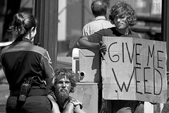 Give Me Weed (Ian Sane) Tags: street woman white man black me sign oregon corner portland ian photography holding weed downtown place candid homeless police images give pot cardboard wants marijuana avenue morrison 5th pioneer officer sane confrontation
