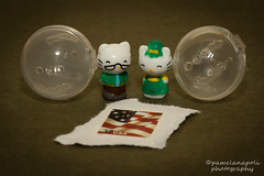 Hello Kitty's Parents - Squinkies (pameladeutchman) Tags: hello white cute green cat canon ball mom 50mm glasses parents george dad hellokitty flag father mary mother kitty tie sanrio collection squishy 365 postagestamp t2i squinkies