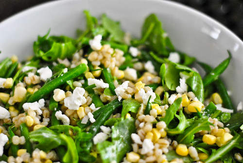 barley and corn salad with hericot verts