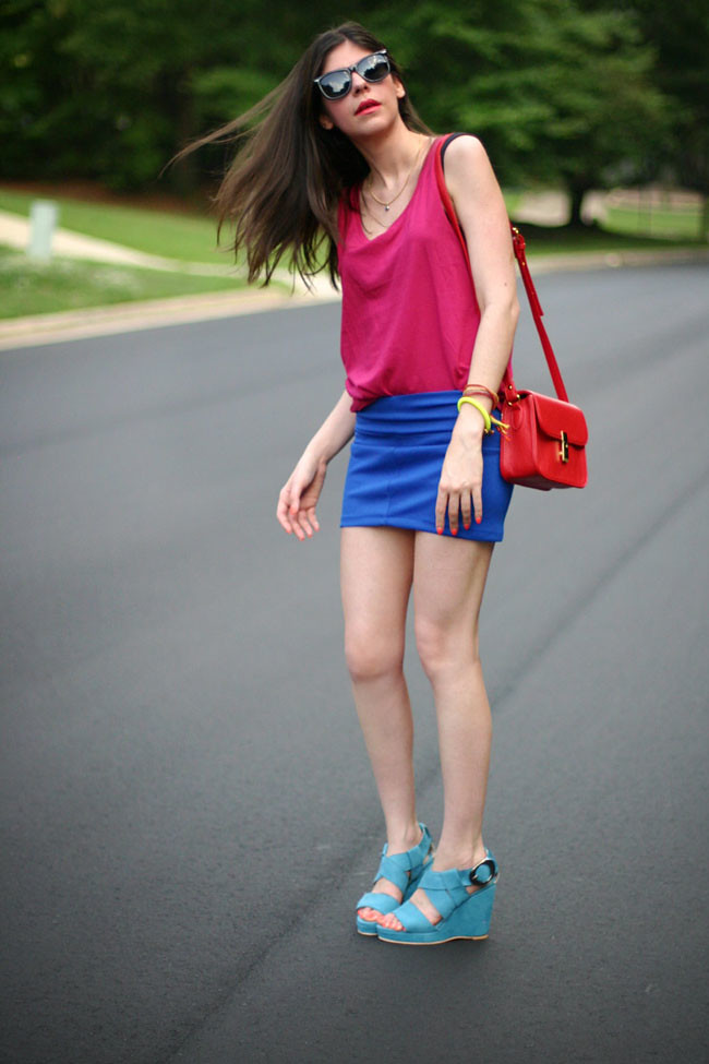 Color Blocking Fashion outfit, Ray ban wayfarers
