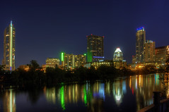 Downtown Austin, TX at night - HDR (Photon Phisher) Tags: canon downtown nighttime austintexas citylights townlake hdr xsi photomatix theaustonian