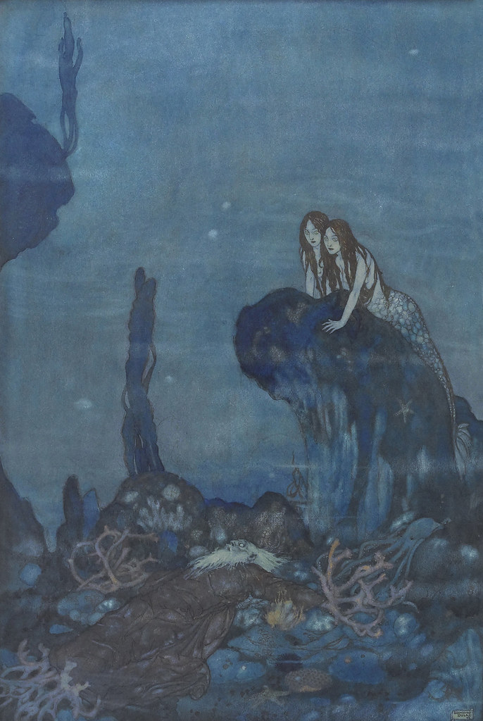 Edmund Dulac - 'Full fathom five thy father lies;  Of his bones are coral made;  Those are pearls that were his eyes.' illustration from The Tempest (1908)