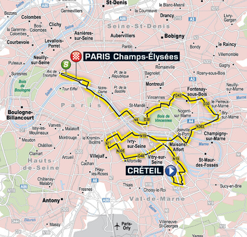 Stage 21 of the 2011 Tour de France into Paris. Map: www.letour.fr