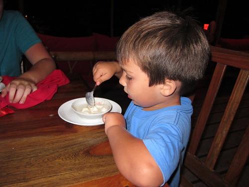 Finn enjoys coconut ice cream