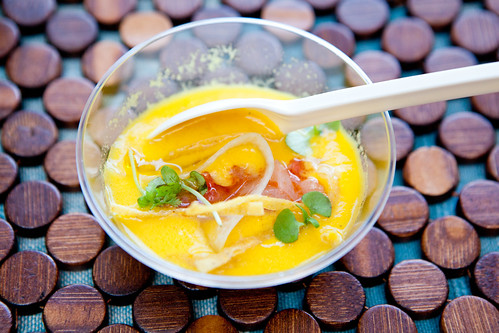 Chilled mango soup with snapper ceviche from Blue Parrot
