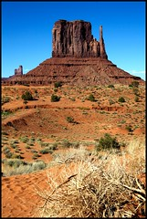 Monument Valley Utah Navajo Nation - West Mitten (Left Mitten) (Bettina Woolbright) Tags: red arizona utah butte desert indian navajo monumentvalley bluff navajonation indiannation monumentvalleyut 5d2 bettinawoolbright