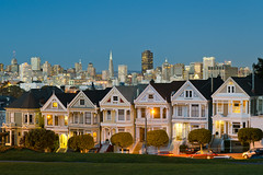 Alamo Square Golden Light (andreaskoeberl) Tags: sanfrancisco california city longexposure blue architecture gold nikon cityscape bluehour paintedladies alamosquare goldenlight 1685 d7000 nikon1685 nikond7000 andreaskoeberl