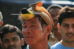 Horn bill headress on Nishi tribes man on the Kameng river Adventure rafting and Kayaking trip