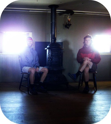 The boys sitting in the Tip Top House as mountaineers would have sat in the 1850's