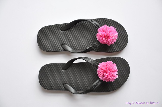 439b6e503bc Between the lines     Recycled plastic bag pompom flip-flops    a ...