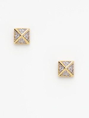 Noir Pave Pyramid Stud Earrings