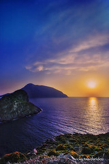 Kalymnos (Vicky Tsavdaridou) Tags: travel blue sunset sea vacation sky cloud seascape reflection nature clouds photoshop canon landscape geotagged island photography countryside photo interesting europe hellas places explore greece hdr topaz kalymnos hellenic photomatix  telendos   ringexcellence